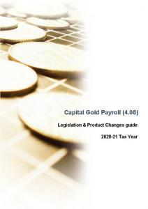 Capital Gold Payroll Legislation and Product Changes Guide